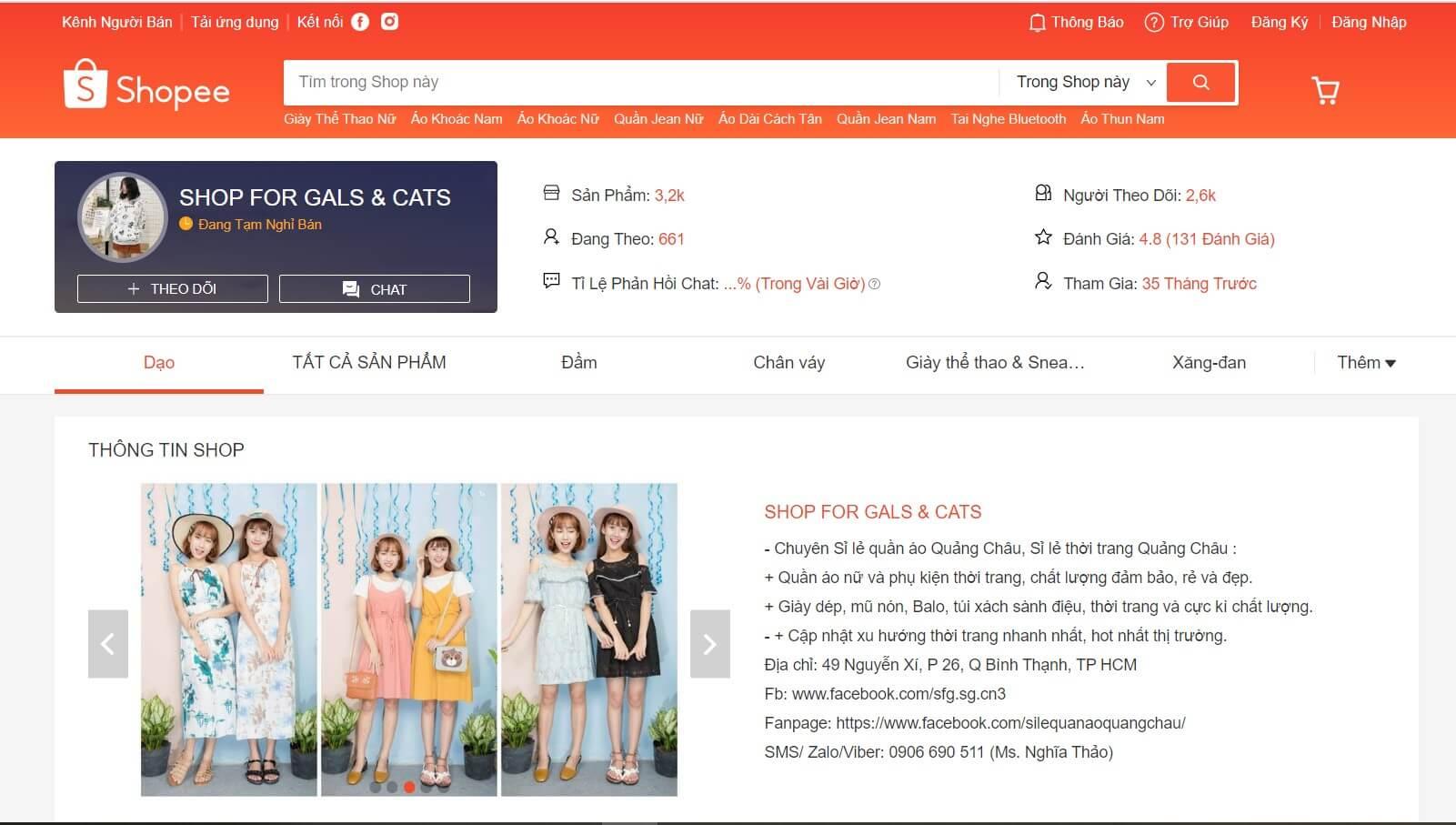 Hình ảnh từ trang bán hàng shopee.vn/galscat | Địa điểm lấy sỉ quần áo Quảng Châu