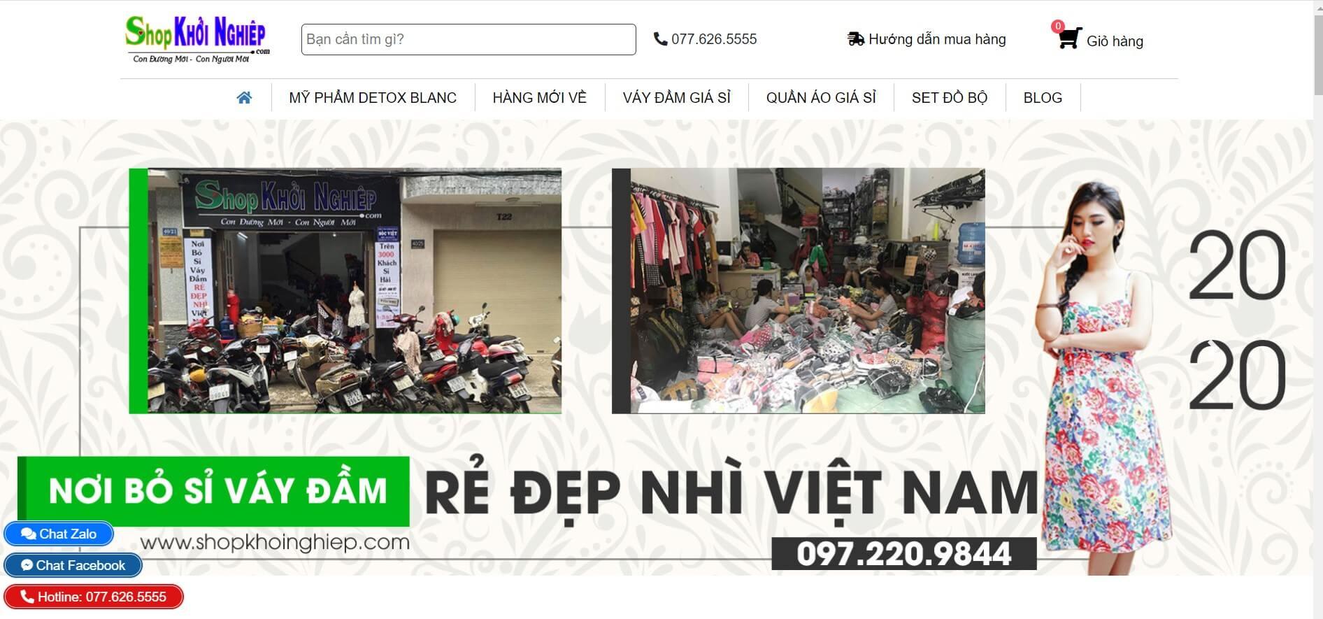 Hình ảnh của website shopkhoinghiep.com | Kho bỏ sỉ quần áo váy đầm tốt