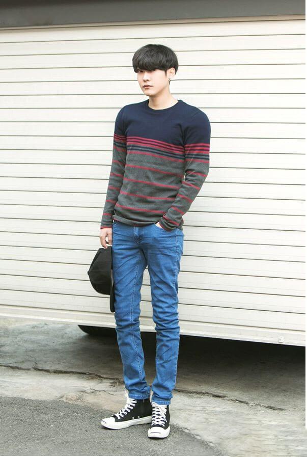 ao thun tay dai va quan jeans 2