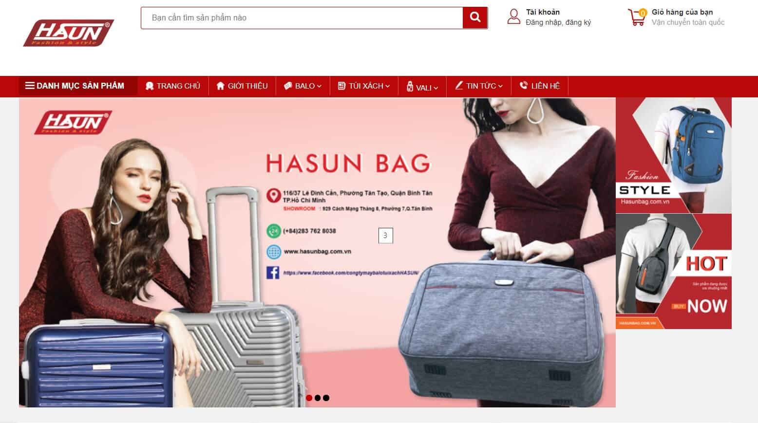 Hình ảnh của website hasun.vn | Kho lấy sỉ túi xách chất lượng tốt