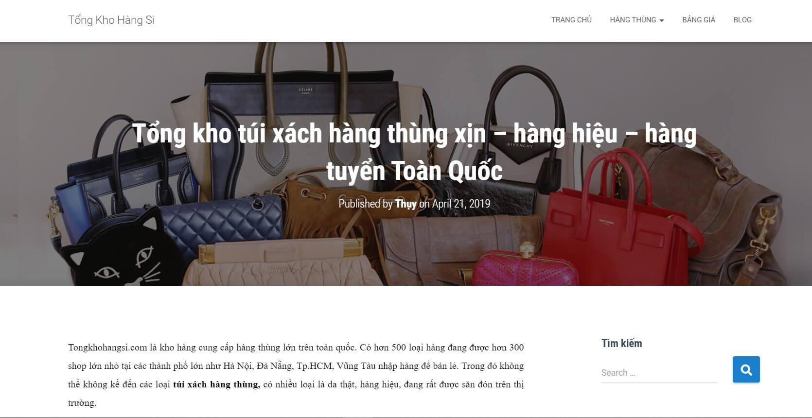 Hình ảnh của website tongkhohangsi.com | Kho hàng túi xách si hàng hiệu