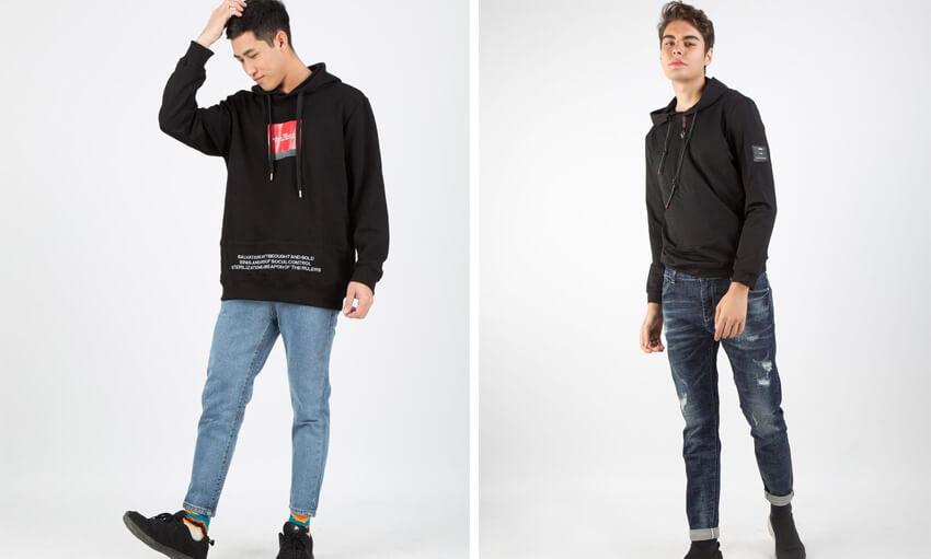 ao hoodie va quan jean