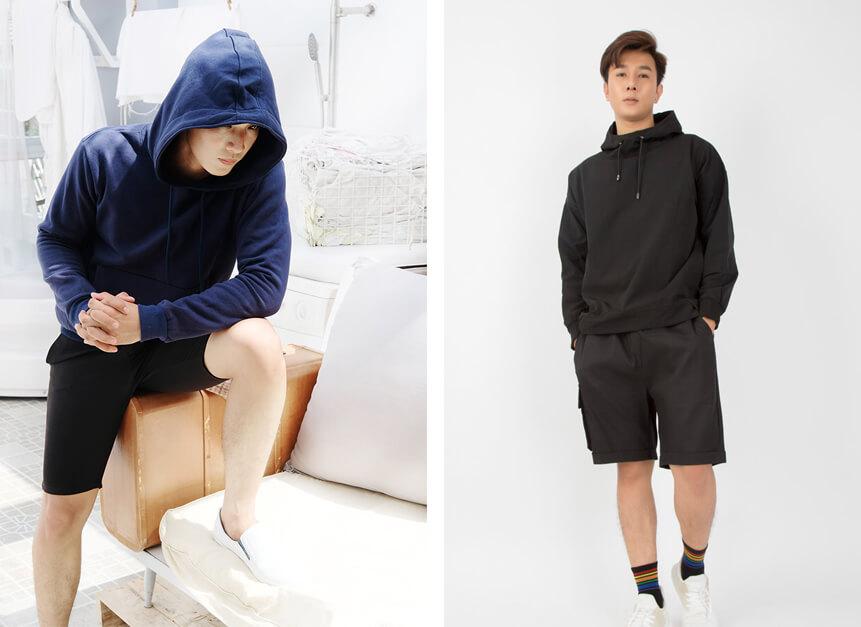 ao hoodie va quan short