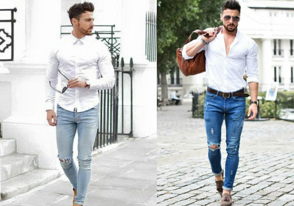 ao so mi trang va quan jeans rach voi giay luoi