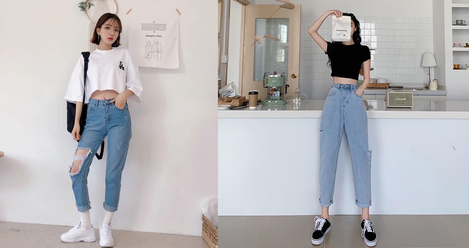 quan baggy jeans va ao croptop voi giay sneaker