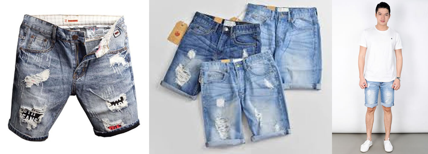 quan short jeans duoc lam bang chat lieu jeans rat de phoi do, thuong phoi ao thun la set do cuc basic vao mua he
