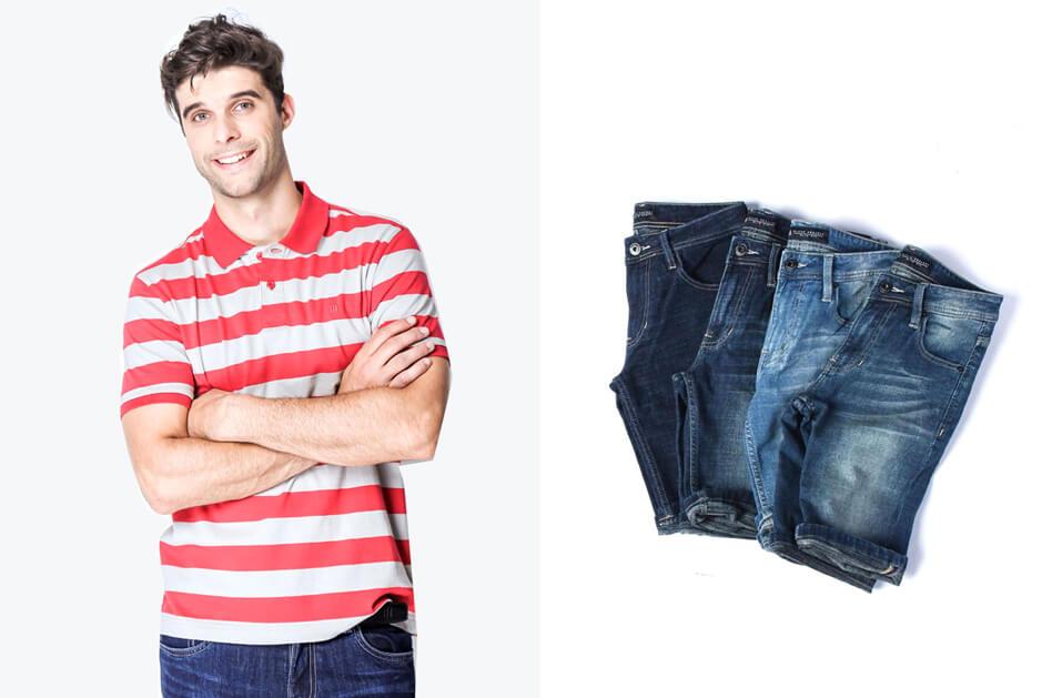 quan short jeans nam voi ao polo soc do trang