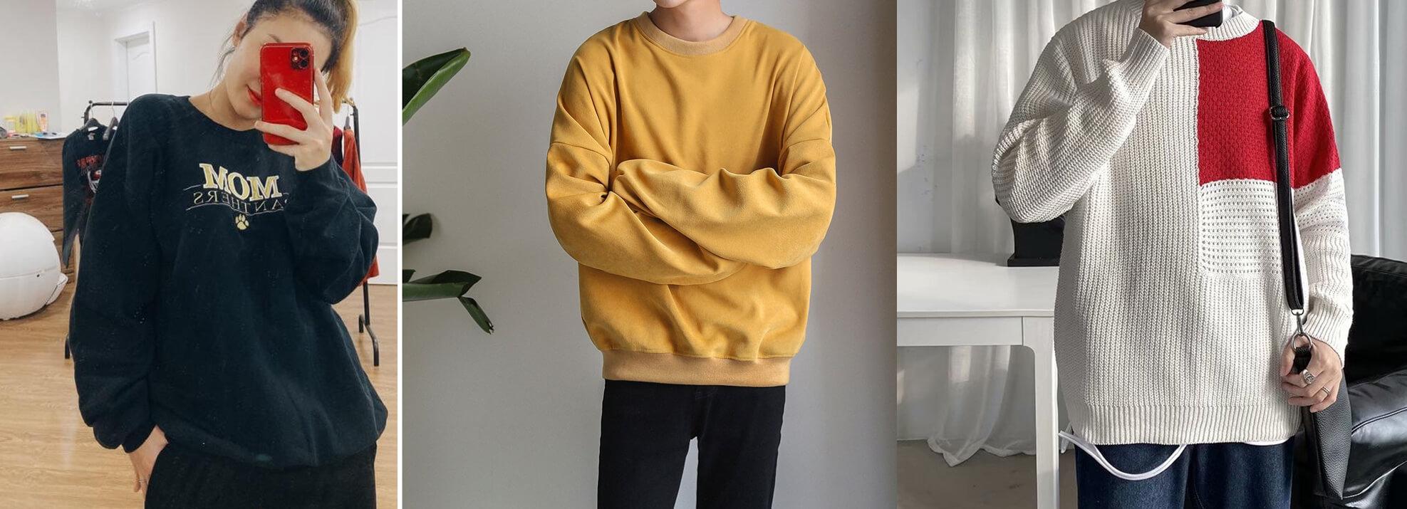 ao sweater la ao duoc lam bang vai ni vai len co tay bo nam nu deu mac duoc