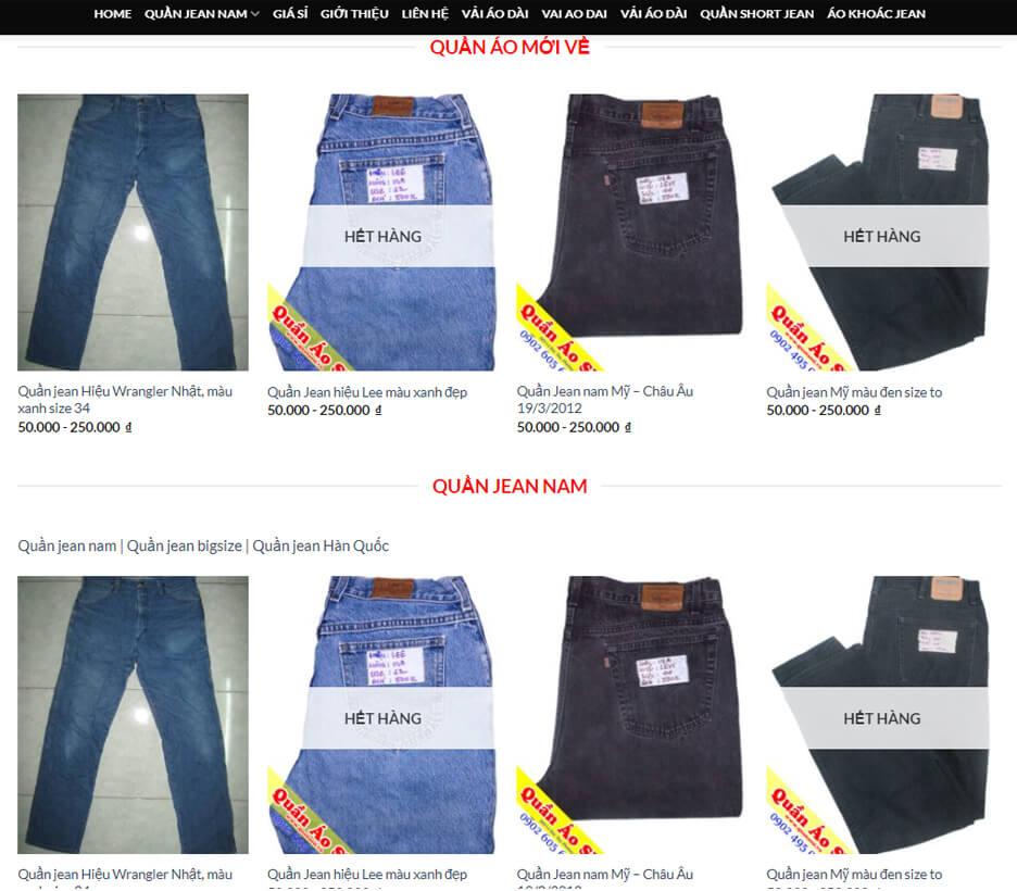 quan ao si la shop do si len tai go vap chuyen do jeans, ao thun my
