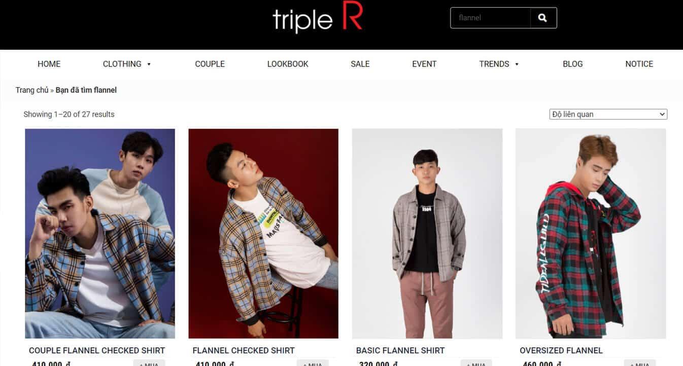 ao flannel tai triple R
