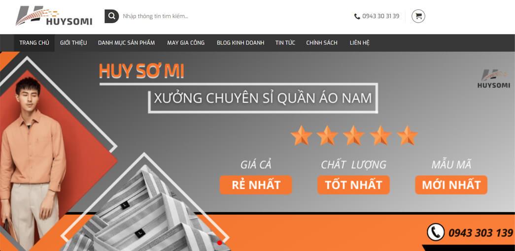 huysomi.com la xuong chuyen si quan ao nam gom 4 mat hang chinh la ao thun nam, ao so mi, quan tay va quan kaki nam